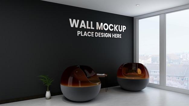 Maquete do logotipo da parede preta da sala de espera do escritório moderno