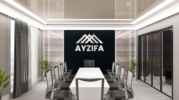Maquete do logotipo da parede preta da sala de reuniões com design moderno