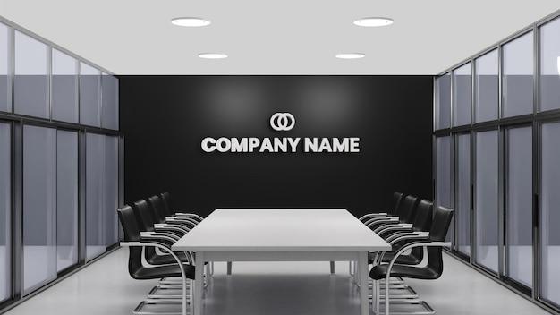 Maquete do logotipo da parede preta do escritório da sala de reuniões