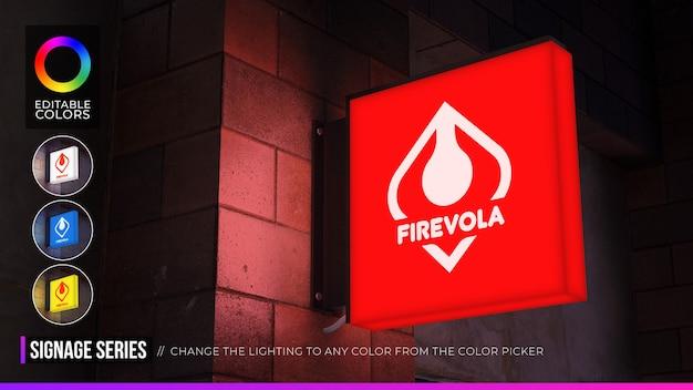 Maquete do logotipo da placa quadrada com cores ambientes editáveis na iluminação noturna