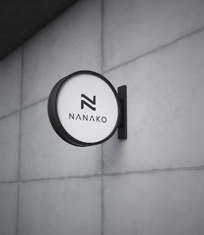 Maquete do logotipo da placa suspensa moderna