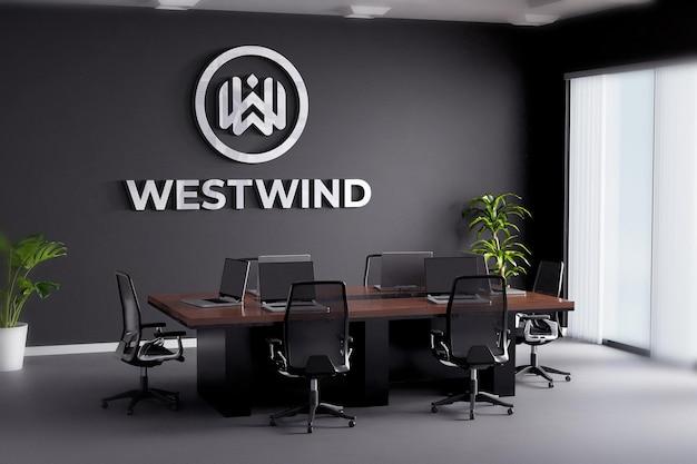 Maquete do logotipo da sala de reuniões, parede preta do escritório
