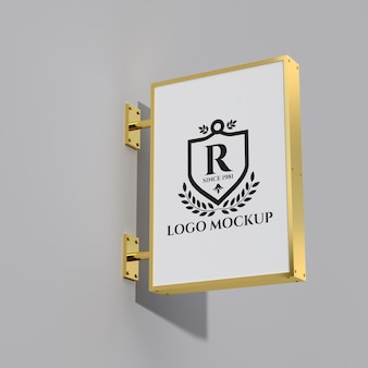 Maquete do logotipo da tabuleta metálica