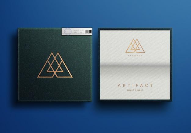 Maquete do logotipo de luxo gravado na caixa de joias