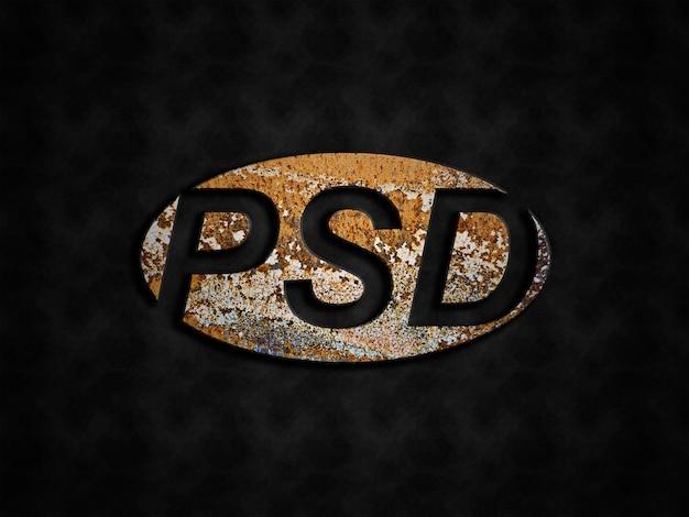 Maquete do logotipo de metal enferrujado