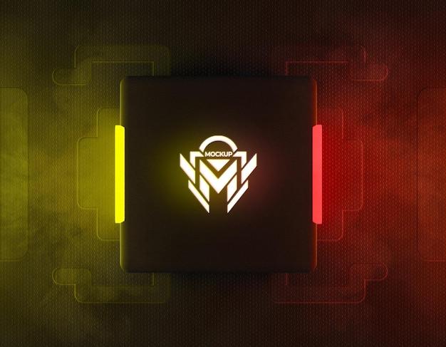Maquete do logotipo de néon 3d com luz de néon reflexiva amarela e vermelha
