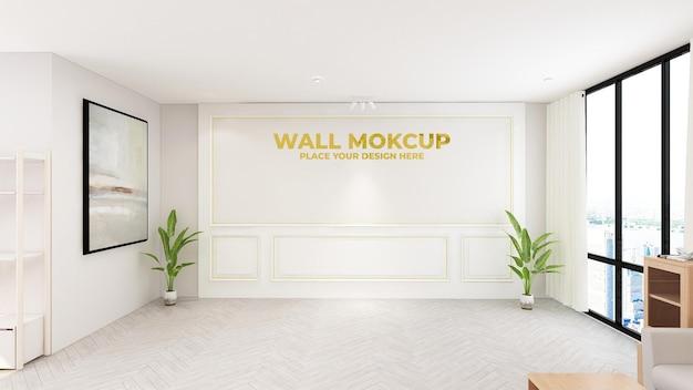Maquete do logotipo de ouro de luxo na sala de escritório do hotel interno da recepcionista