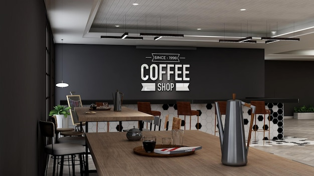 Maquete do logotipo do café com design de interiores moderno do café