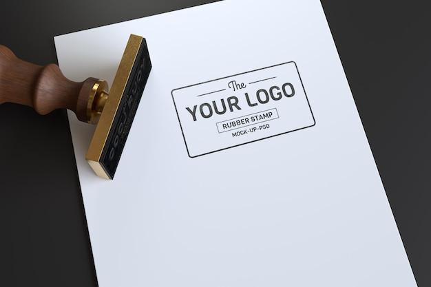 Maquete do logotipo do carimbo de borracha