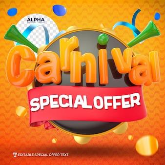 Maquete do logotipo do carnaval rendido em oferta especial com pandeiro e vuvuzela isolados