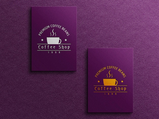 Maquete do logotipo do cartão de visita de café com efeito de relevo e relevo