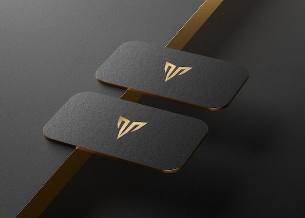 Maquete do logotipo do cartão de visita preto para renderização em 3d da identidade da marca