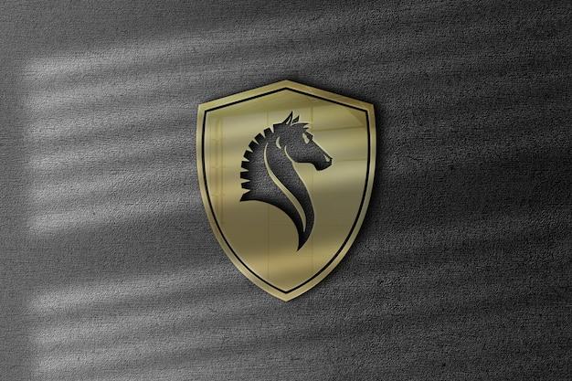 Maquete do logotipo do emblema do cavalo com efeito brilhante