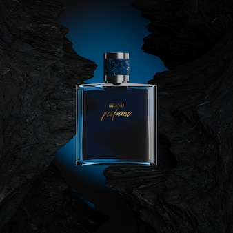 Maquete do logotipo do frasco de perfume com fundo azul rochoso