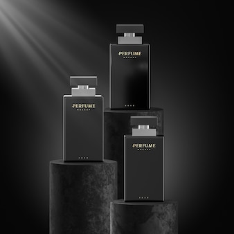 Maquete do logotipo do frasco de perfume e marca em fundo preto renderização 3d