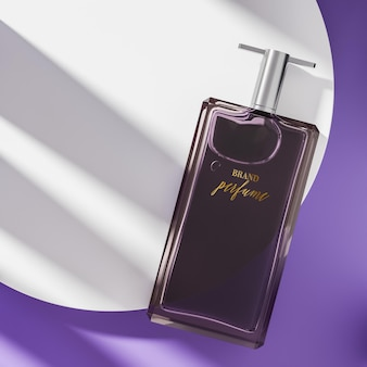 Maquete do logotipo do frasco de perfume na vista superior roxa