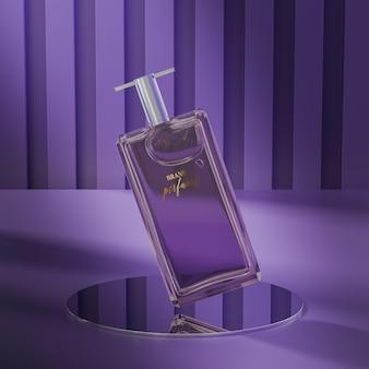 Maquete do logotipo do frasco de perfume no fundo roxo abstrato