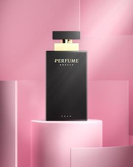 Maquete do logotipo do frasco de perfume para renderização em 3d da identidade da marca