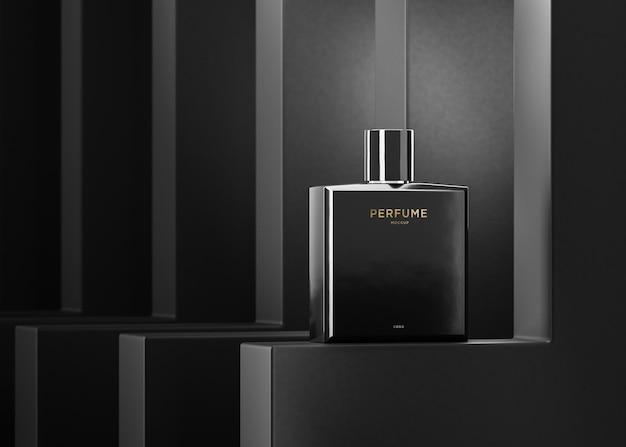Maquete do logotipo do frasco de perfume preto para renderização em 3d da identidade da marca