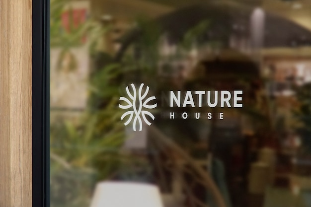 Maquete do logotipo do nature window sign