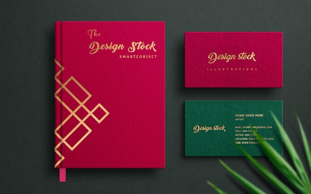 Maquete do logotipo do notebook e cartão de visita