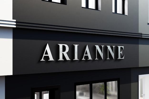 Maquete do logotipo do prédio da loja parede preta