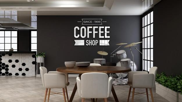 Maquete do logotipo do restaurante na sala de madeira minimalista do restaurante