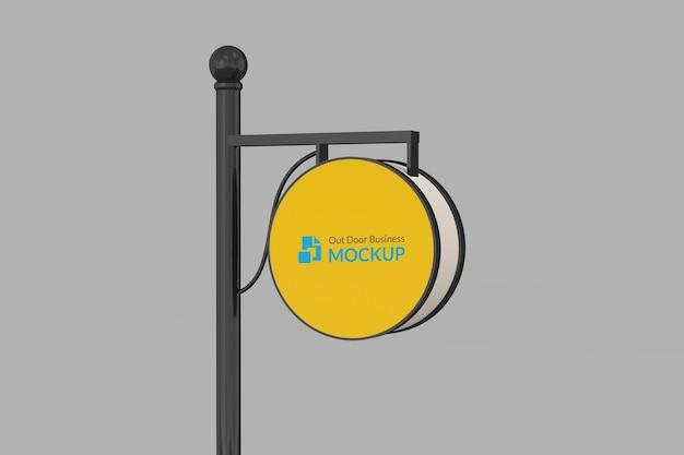 Maquete do logotipo do sinal ao ar livre do círculo 3d realista
