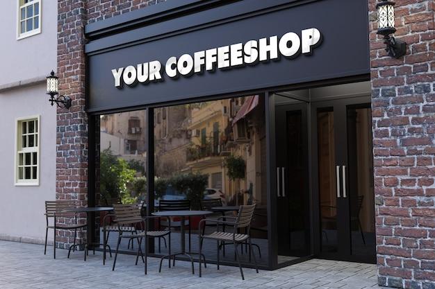 Maquete do logotipo em 3d da fachada da cafeteria
