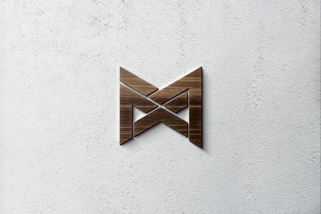 Maquete do logotipo em 3d de madeira na parede