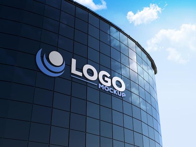 Maquete do logotipo em 3d do edifício da placa