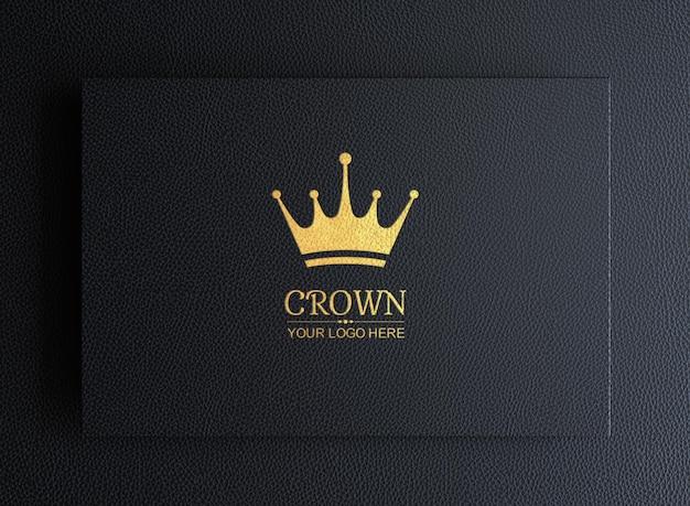 Maquete do logotipo em couro preto