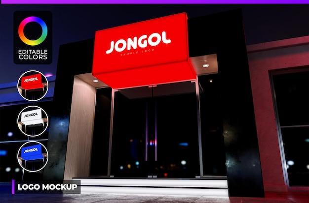 Maquete do logotipo em loja moderna com fachada preta ou escritório com renderização iluminada de acrílico