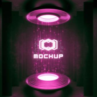 Maquete do logotipo em luzes brilhantes