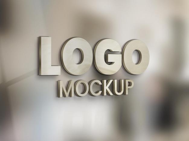 Maquete do logotipo em painel no vidro do escritório