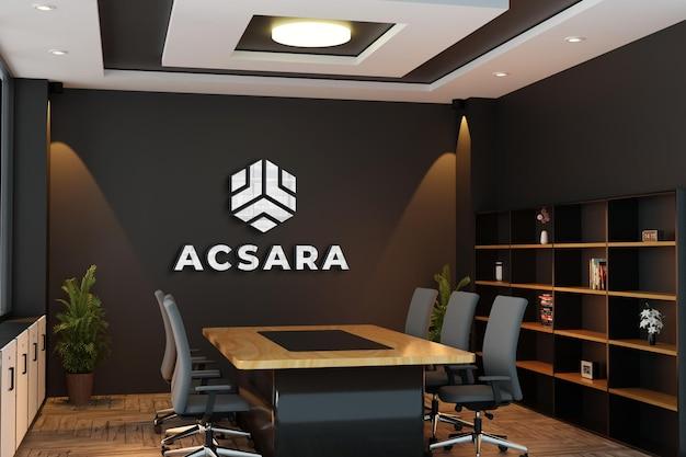 Maquete do logotipo em parede preta da sala de reuniões