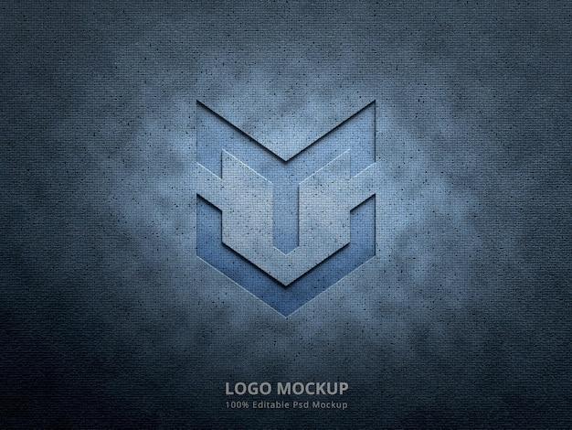 Maquete do logotipo em relevo com textura de fundo