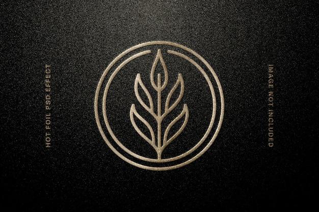 Maquete do logotipo em relevo de papel alumínio