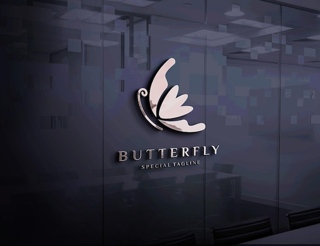 Maquete do logotipo em relevo na parede de vidro
