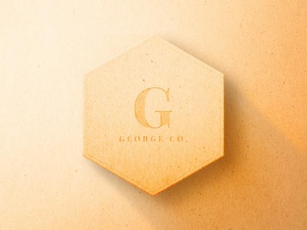 Maquete do logotipo em relevo no modelo hexágono