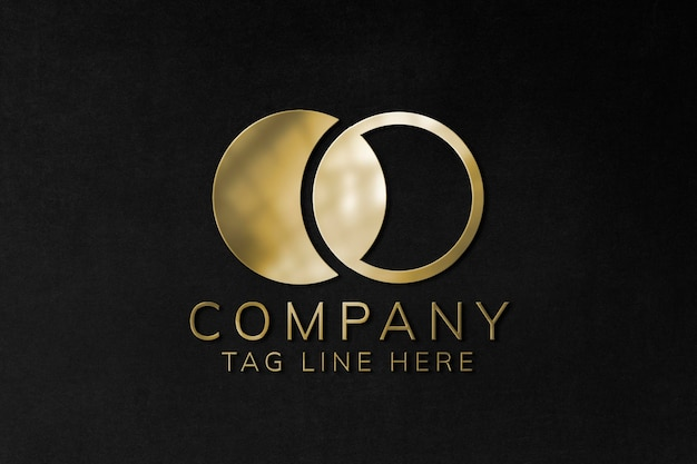 Maquete do logotipo em relevo psd em ouro para a empresa