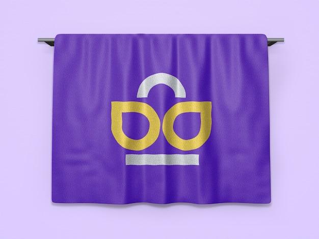 Maquete do logotipo em tecido de poliéster