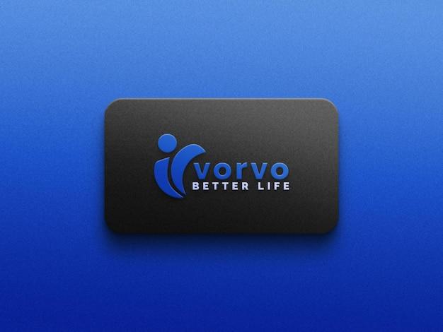 Maquete do logotipo em textura azul psd fil