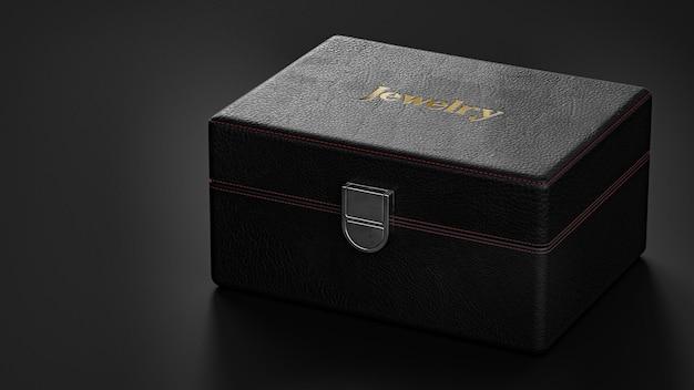 Maquete do logotipo em um relógio preto luxuoso ou caixa de joias 3d render