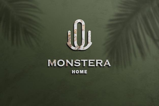 Maquete do logotipo esculpida em mármore branco 3d com estilo em relevo