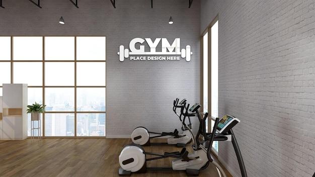 Maquete do logotipo esportivo da parede na moderna sala de ginástica
