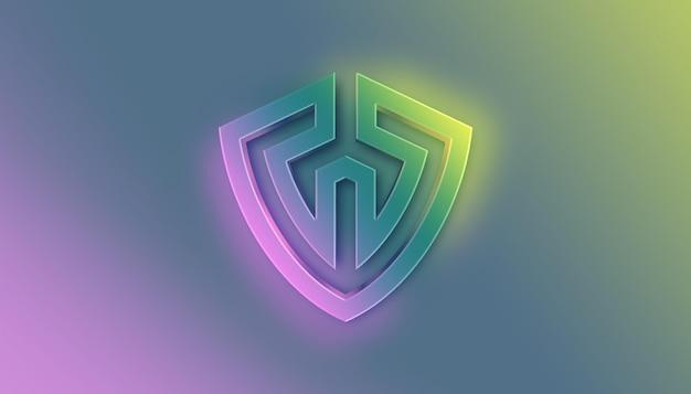 Maquete do logotipo frontal 3d flow