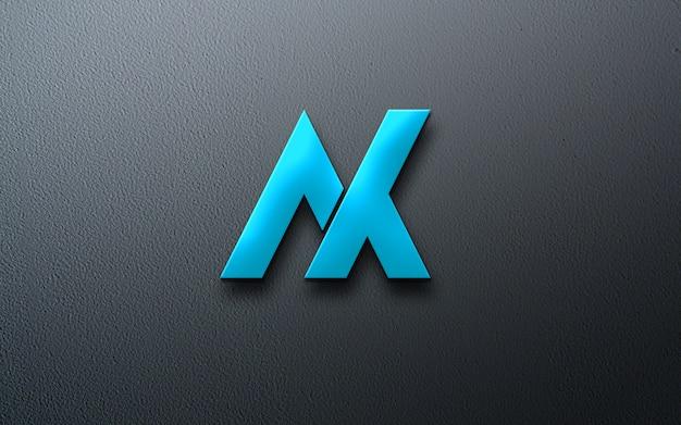 Maquete do logotipo metálico azul fotorrealista