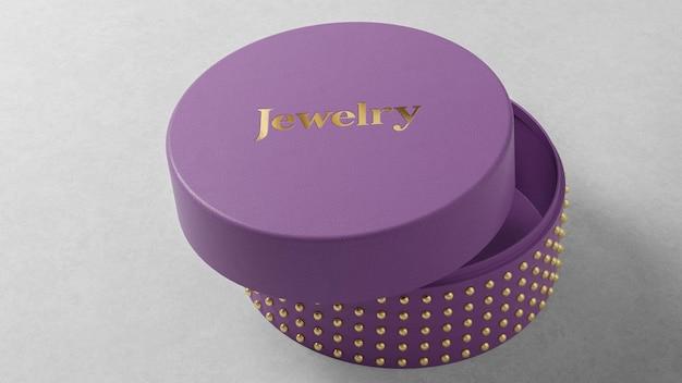 Maquete do logotipo na caixa de relógio de joias roxa redonda
