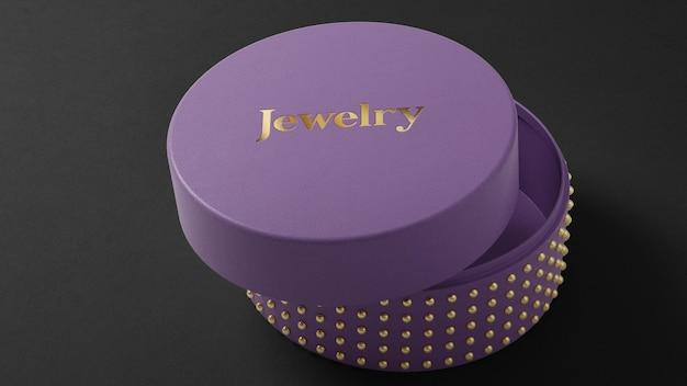 Maquete do logotipo na caixa de relógio de joias roxa renderização em 3d